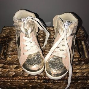 Hi Top gold glitter and nude